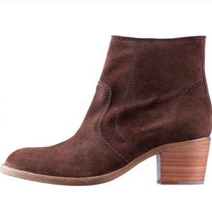 A.P.C. 'Anna' Chocolate Brown Suede Cowboy Booties